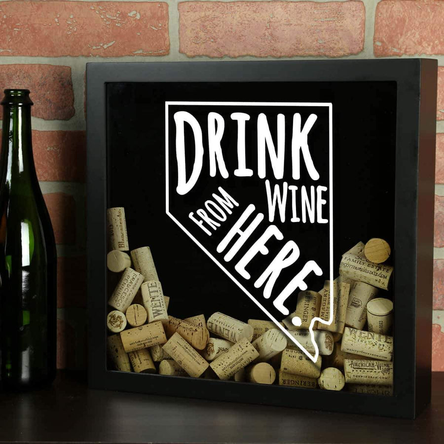 Torched Products Shadow Box Black Nevada Drink Wine From Here Wine Cork Shadow Box (795753906293)