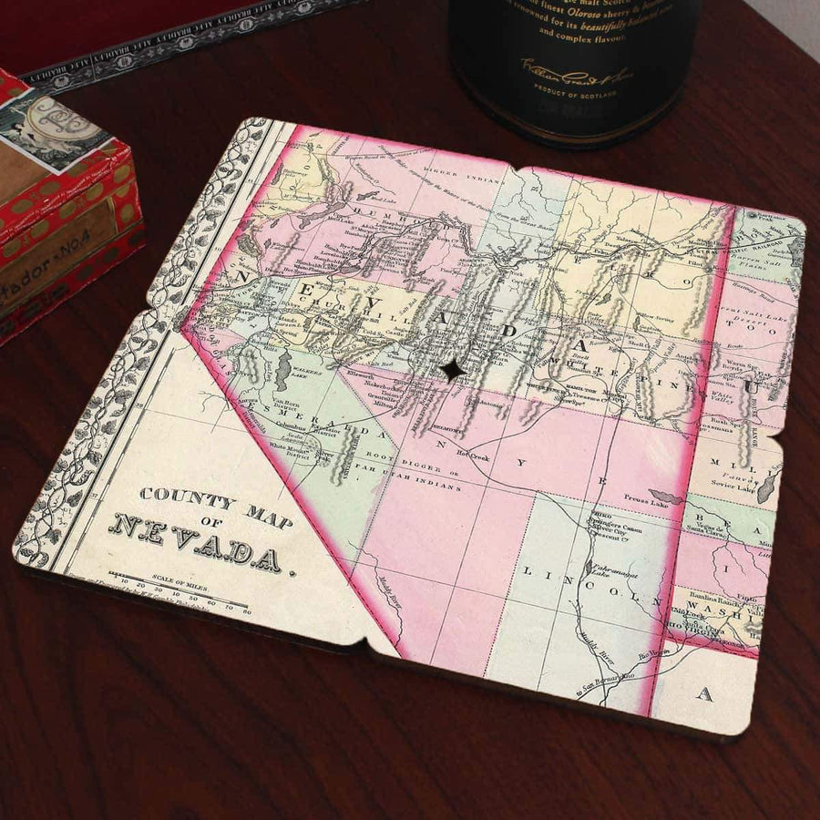 Torched Products Coasters Nevada Old World Map Coaster (790595338357)