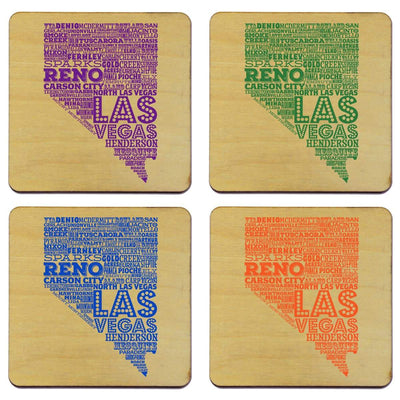 Torched Products Coasters Nevada State Typography Coaster (787830276213)
