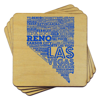 Torched Products Coasters Nevada State Typography Coaster
