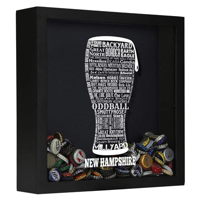 Torched Products Shadow Box Black New Hampshire Beer Typography Shadow Box (779383406709)