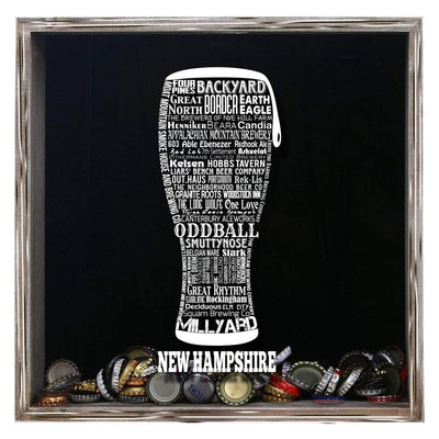 Torched Products Shadow Box Gray New Hampshire Beer Typography Shadow Box (779383406709)