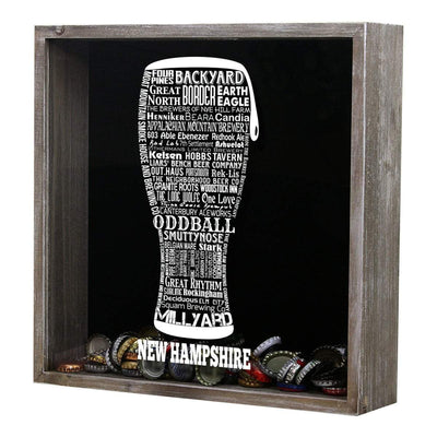 Torched Products Shadow Box New Hampshire Beer Typography Shadow Box (779383406709)
