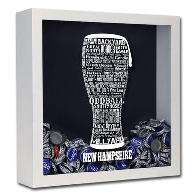 Torched Products Shadow Box White New Hampshire Beer Typography Shadow Box (779383406709)
