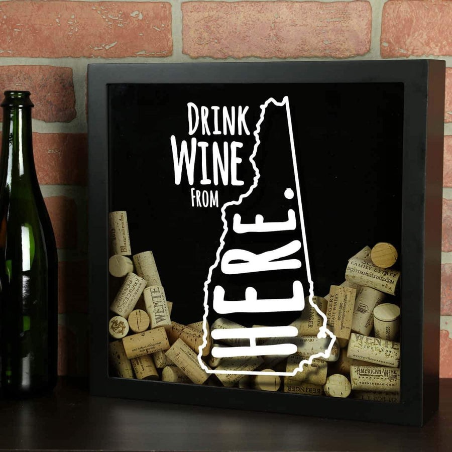 Torched Products Shadow Box Black New Hampshire Drink Wine From Here Wine Cork Shadow Box
