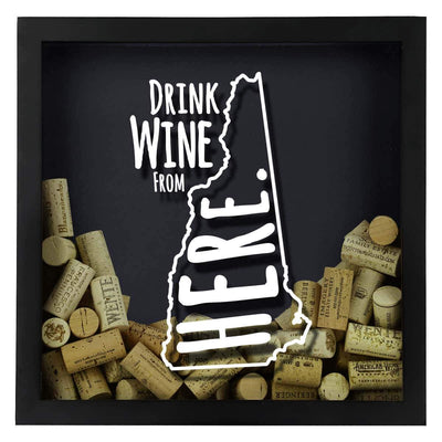 Torched Products Shadow Box New Hampshire Drink Wine From Here Wine Cork Shadow Box