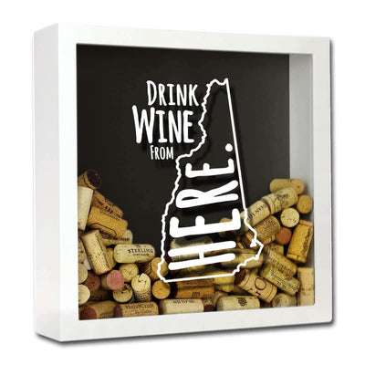 Torched Products Shadow Box White New Hampshire Drink Wine From Here Wine Cork Shadow Box