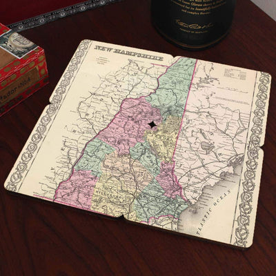 Torched Products Coasters New Hampshire Old World Map Coaster (790595141749)