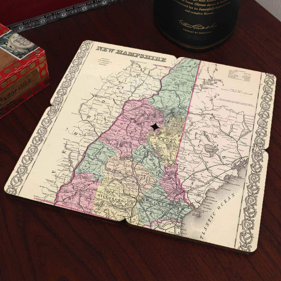 Torched Products Coasters New Hampshire Old World Map Coaster