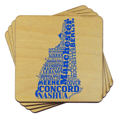 Torched Products Coasters New Hampshire State Typography Coaster