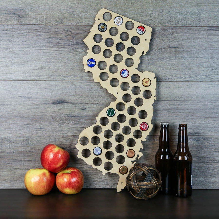 Torched Products Beer Bottle Cap Holder New Jersey Beer Cap Map