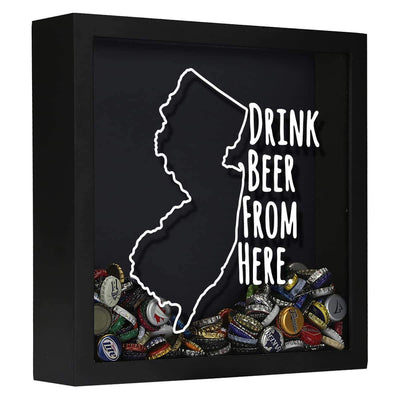 Torched Products Shadow Box Black New Jersey Drink Beer From Here Beer Cap Shadow Box (781181943925)