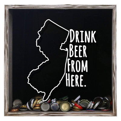 Torched Products Shadow Box Gray New Jersey Drink Beer From Here Beer Cap Shadow Box (781181943925)