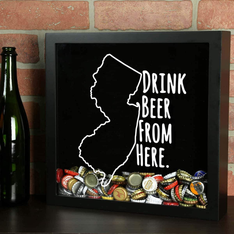 Torched Products Shadow Box Black New Jersey Drink Beer From Here Beer Cap Shadow Box