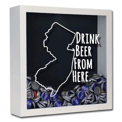 Torched Products Shadow Box White New Jersey Drink Beer From Here Beer Cap Shadow Box (781181943925)