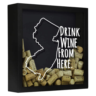 Torched Products Shadow Box Black New Jersey Drink Wine From Here Wine Cork Shadow Box (795767701621)
