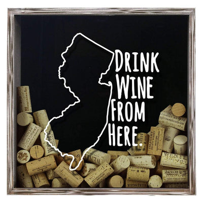 Torched Products Shadow Box Gray New Jersey Drink Wine From Here Wine Cork Shadow Box (795767701621)