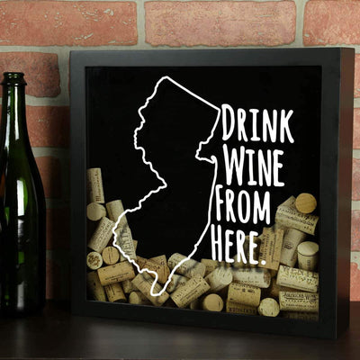 Torched Products Shadow Box New Jersey Drink Wine From Here Wine Cork Shadow Box (795767701621)