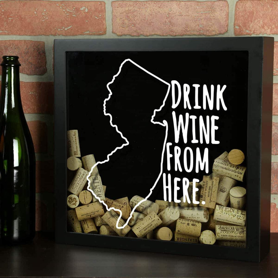 Torched Products Shadow Box Black New Jersey Drink Wine From Here Wine Cork Shadow Box