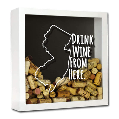Torched Products Shadow Box White New Jersey Drink Wine From Here Wine Cork Shadow Box (795767701621)