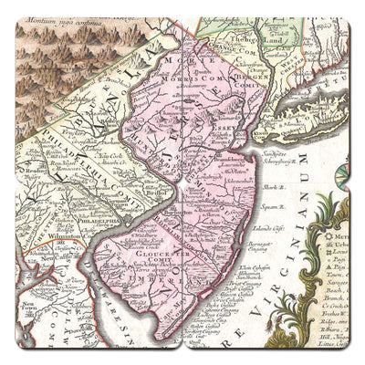 Torched Products Coasters New Jersey Old World Map Coaster
