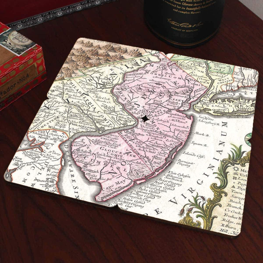 Torched Products Coasters New Jersey Old World Map Coaster (790595240053)