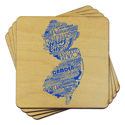 Torched Products Coasters New Jersey State Typography Coaster