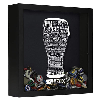 Torched Products Shadow Box Black New Mexico Beer Typography Shadow Box