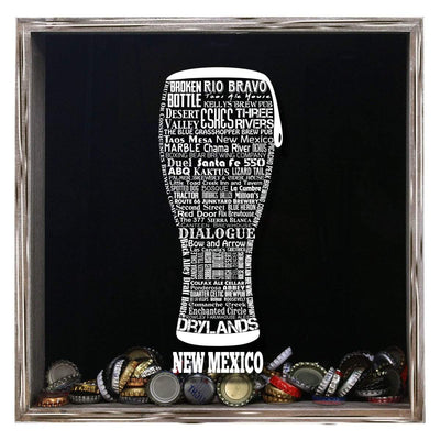 Torched Products Shadow Box Gray New Mexico Beer Typography Shadow Box