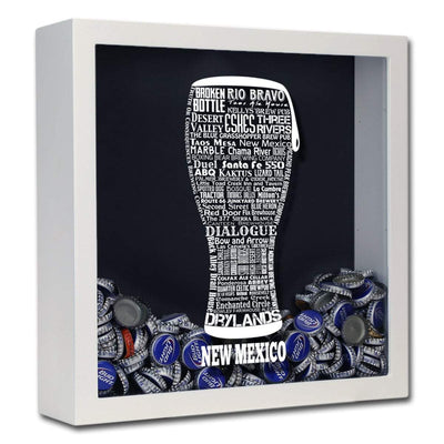 Torched Products Shadow Box White New Mexico Beer Typography Shadow Box