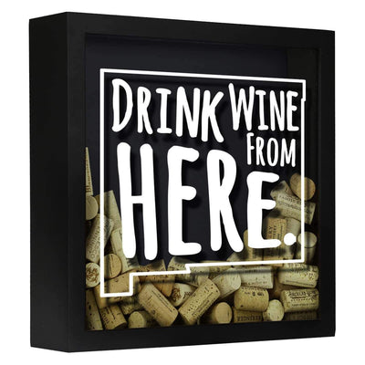 Torched Products Shadow Box Black New Mexico Drink Wine From Here Wine Cork Shadow Box