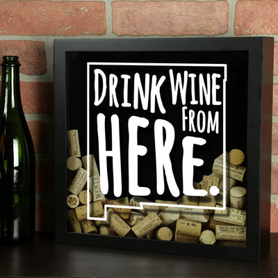 Torched Products Shadow Box New Mexico Drink Wine From Here Wine Cork Shadow Box