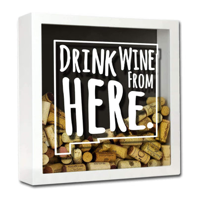 Torched Products Shadow Box White New Mexico Drink Wine From Here Wine Cork Shadow Box