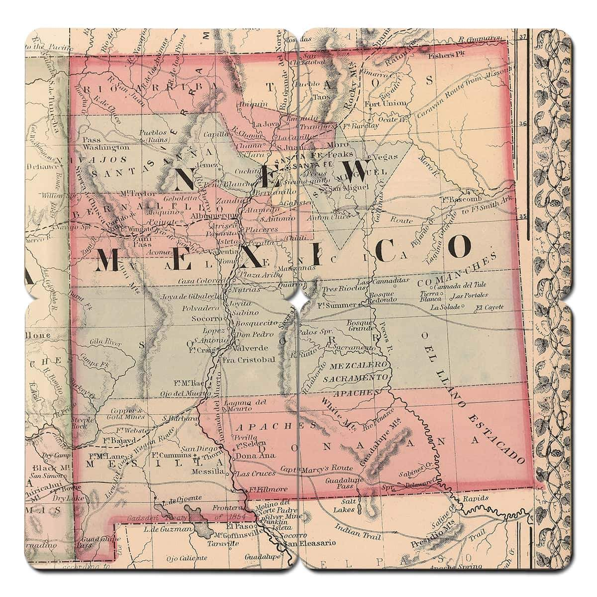 New Mexico Old World Map Coaster - Torched Products