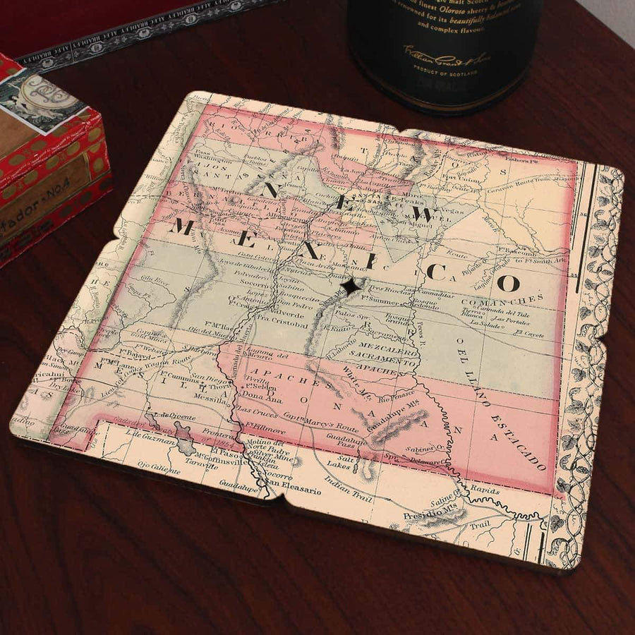 Torched Products Coasters New Mexico Old World Map Coaster