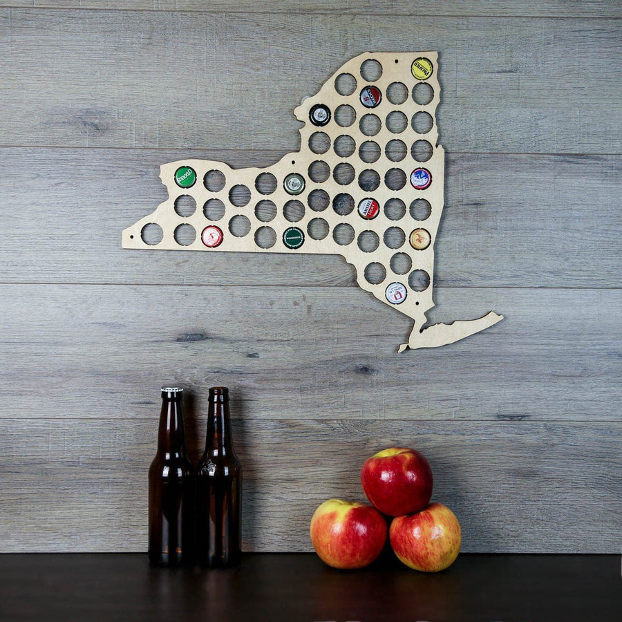 Torched Products Beer Bottle Cap Holder New York Beer Cap Map