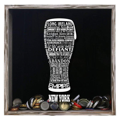 Torched Products Shadow Box Gray New York Beer Typography Shadow Box
