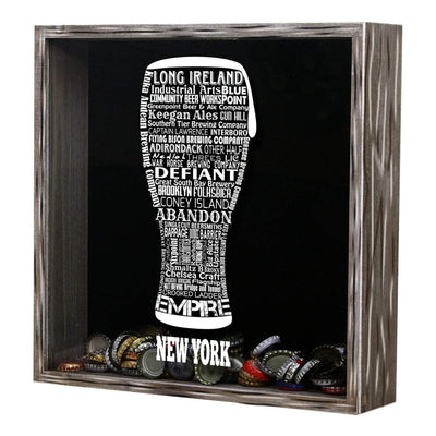Torched Products Shadow Box New York Beer Typography Shadow Box