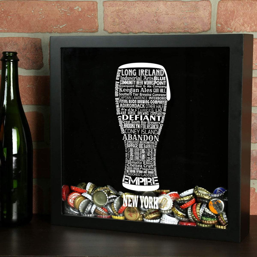 Torched Products Shadow Box Black New York Beer Typography Shadow Box
