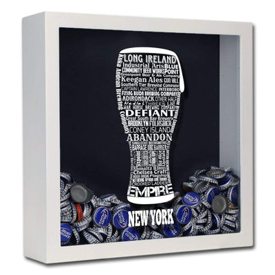 Torched Products Shadow Box White New York Beer Typography Shadow Box