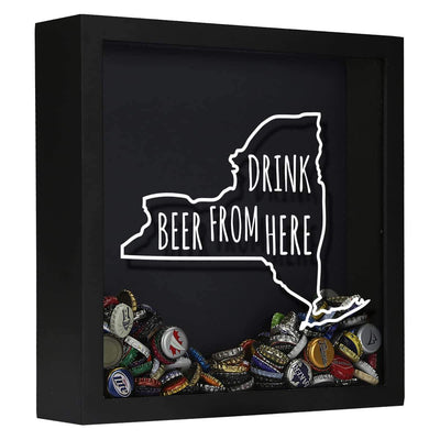 Torched Products Shadow Box Black New York Drink Beer From Here Beer Cap Shadow Box (781182500981)