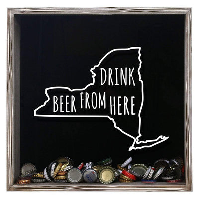 Torched Products Shadow Box Gray New York Drink Beer From Here Beer Cap Shadow Box (781182500981)