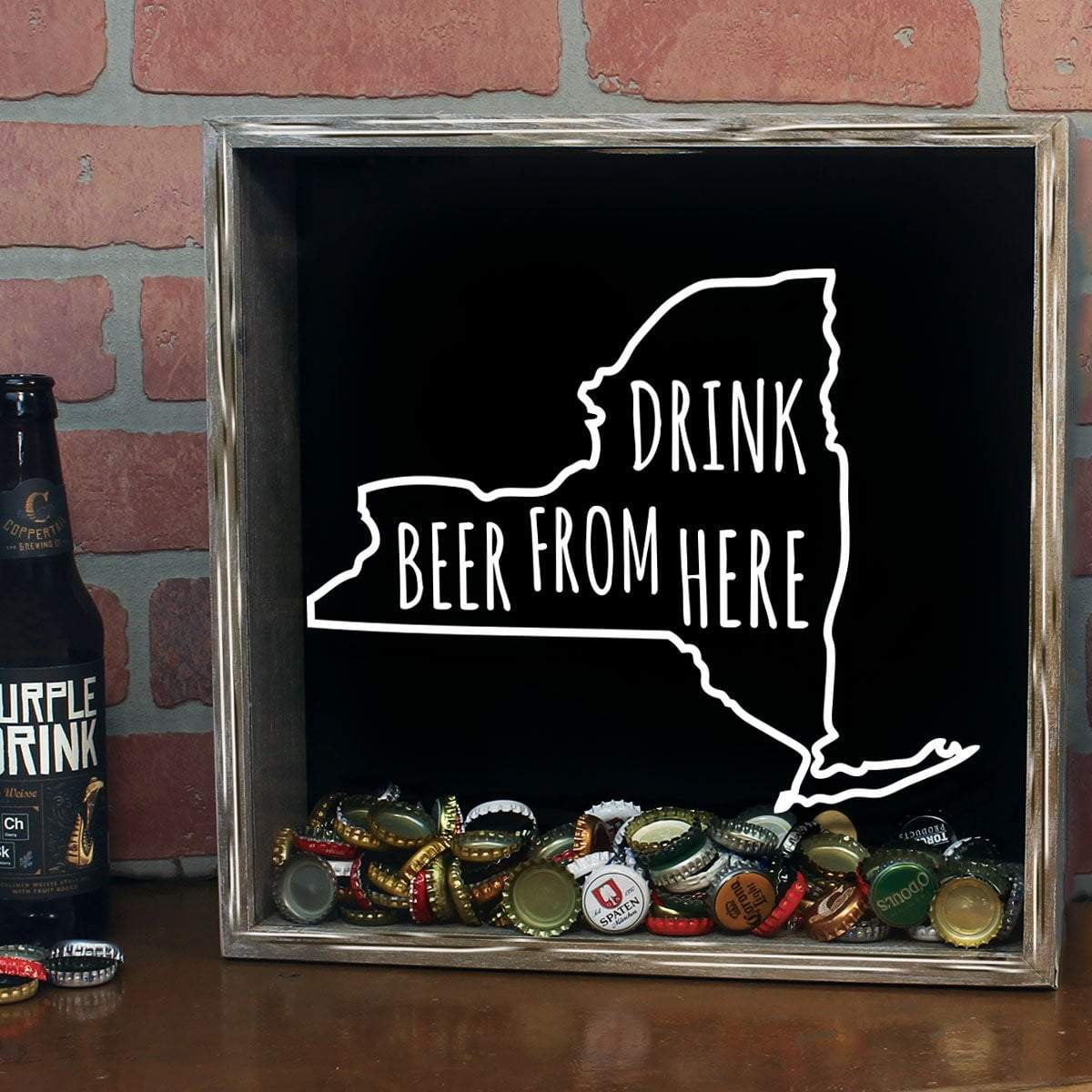 New York Drink Beer From Here Beer Cap Shadow Box