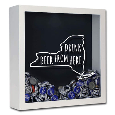 Torched Products Shadow Box White New York Drink Beer From Here Beer Cap Shadow Box