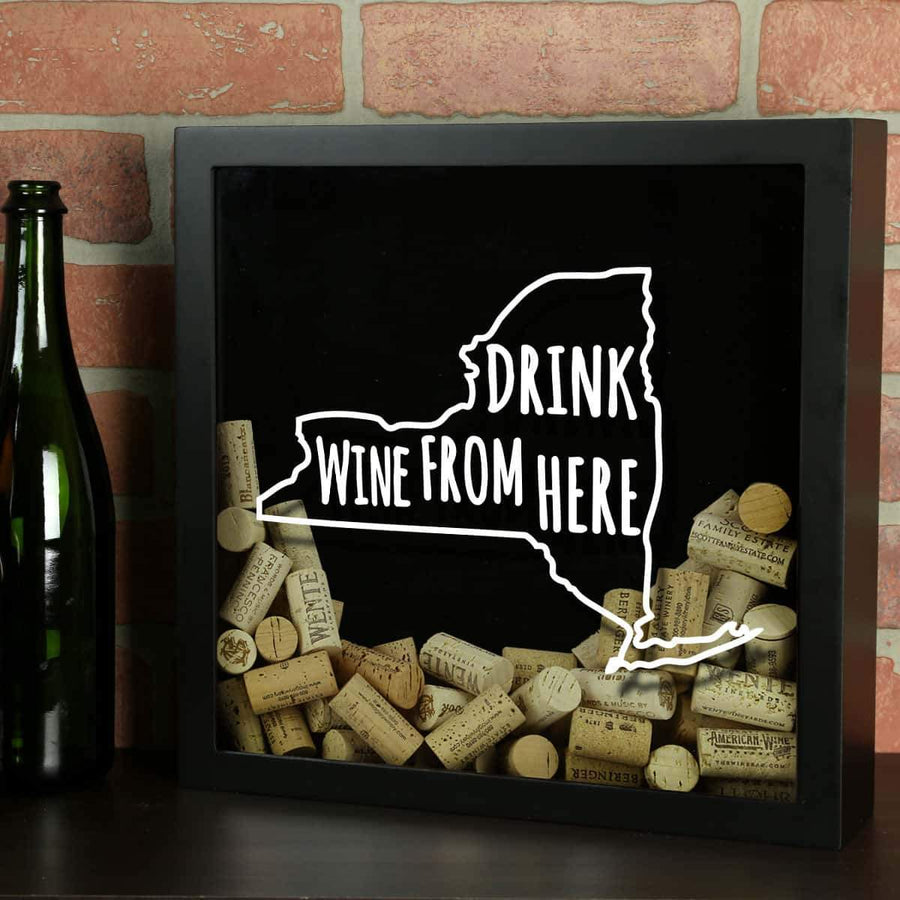 Torched Products Shadow Box Black New York Drink Wine From Here Wine Cork Shadow Box