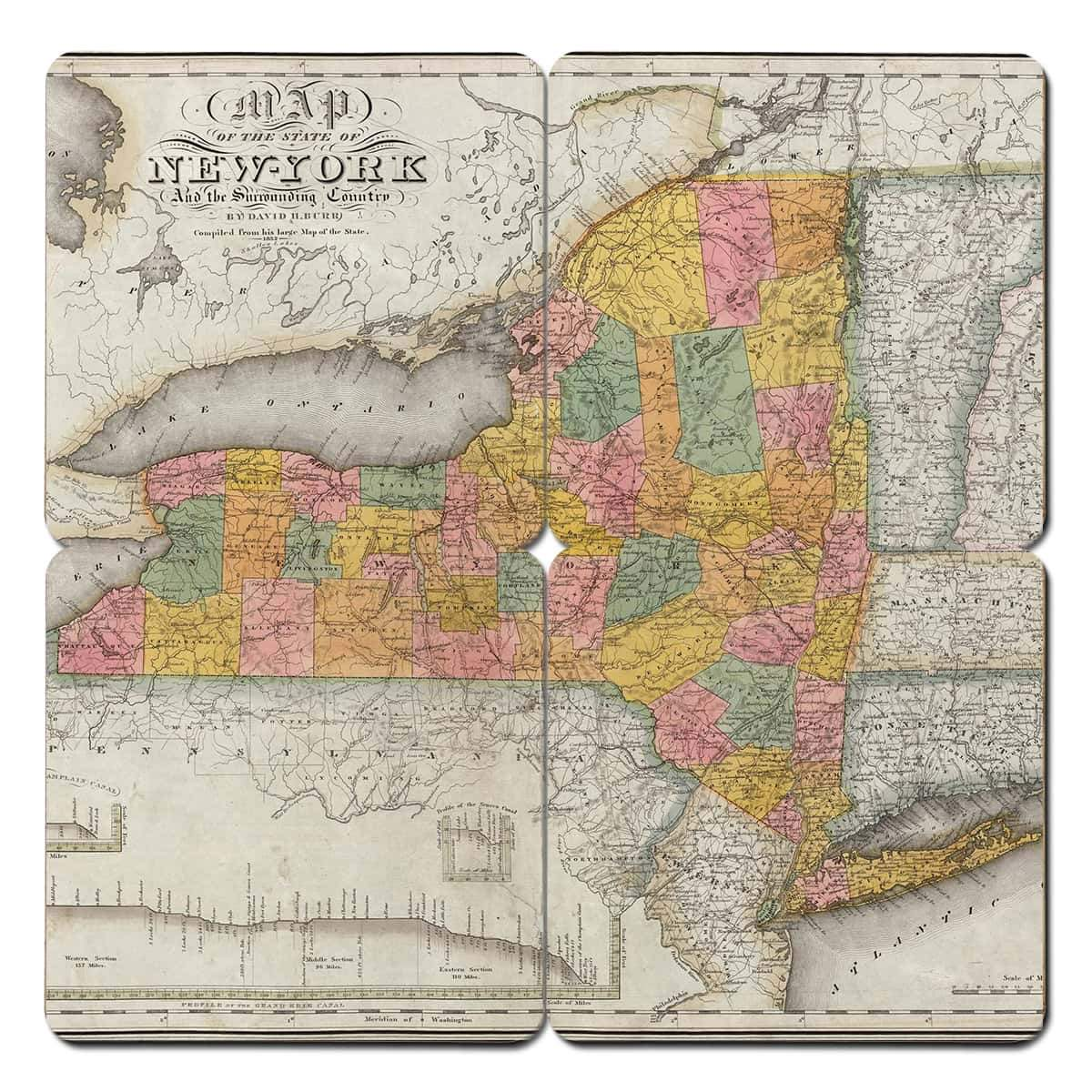 New York Old World Map Coaster Torched Products