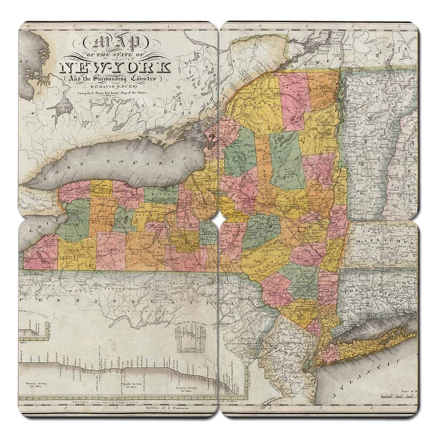 Torched Products Coasters New York Old World Map Coaster