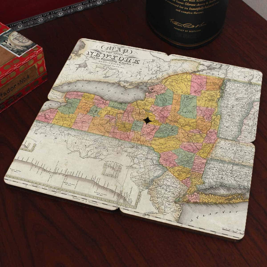 Torched Products Coasters New York Old World Map Coaster (790595371125)