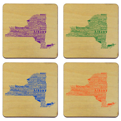 Torched Products Coasters New York State Typography Coaster