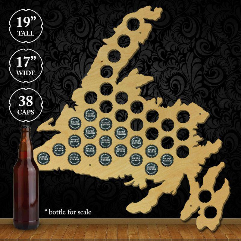 Torched Products Beer Bottle Cap Holder Newfoundland Beer Cap Map